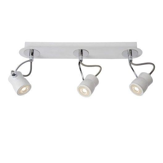 rampe 3 spots design samba 3 xgu10 blanc lucide leroy merlin. Black Bedroom Furniture Sets. Home Design Ideas