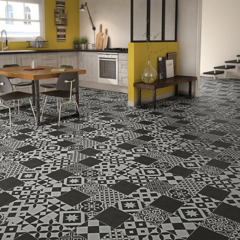 un effet carreaux de ciment avec le sol en pvc pour une cuisine vintage leroy merlin. Black Bedroom Furniture Sets. Home Design Ideas