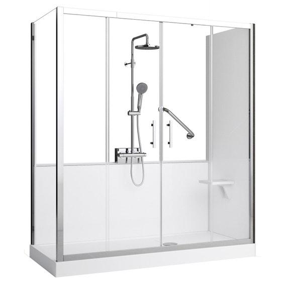 kit de remplacement baignoire par douche en angle 70x170 cm elyt evolution 2 0 leroy merlin. Black Bedroom Furniture Sets. Home Design Ideas