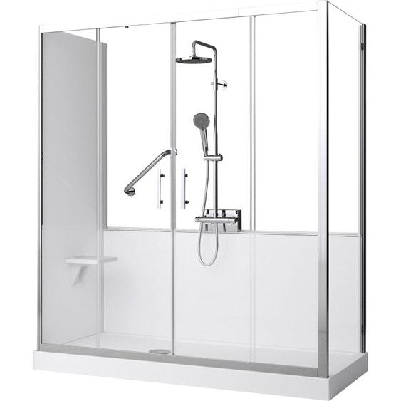 kit de remplacement baignoire par douche en angle 70x160 cm elyt evolution 2 0 leroy merlin. Black Bedroom Furniture Sets. Home Design Ideas