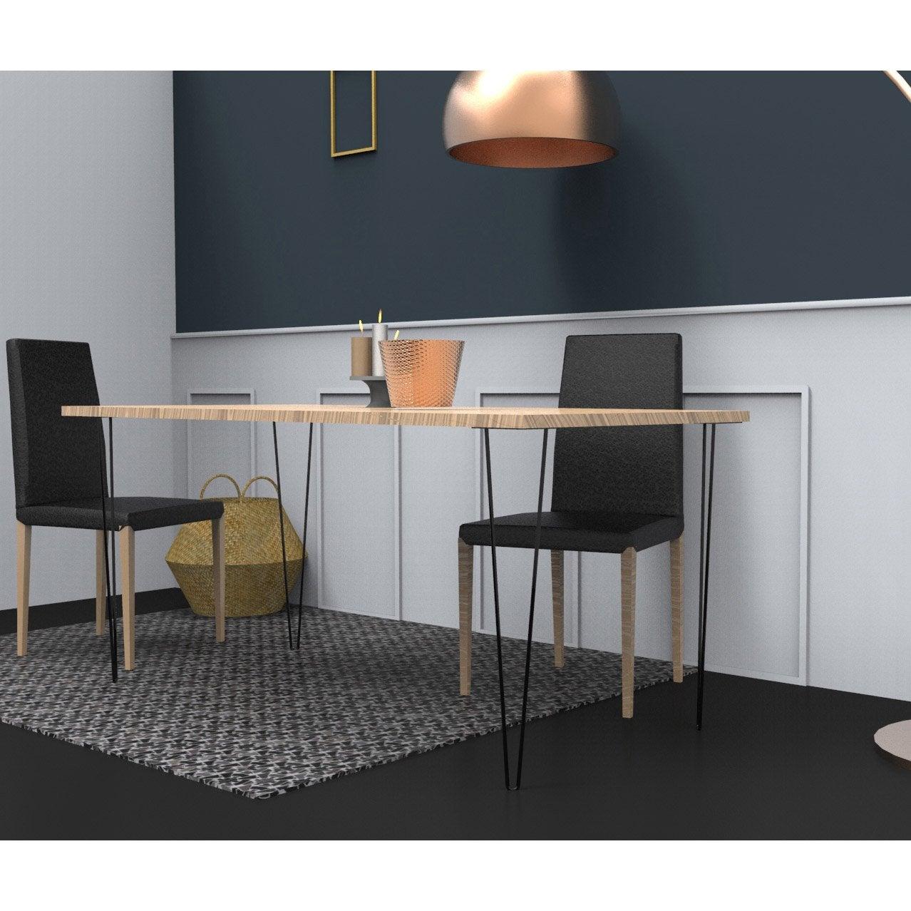 ... Pied De Table Design Fixe Acier époxy Noir, 71 Cm