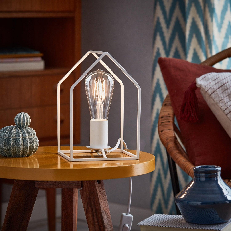Lampe, métal blanc, BRILLIANT Home
