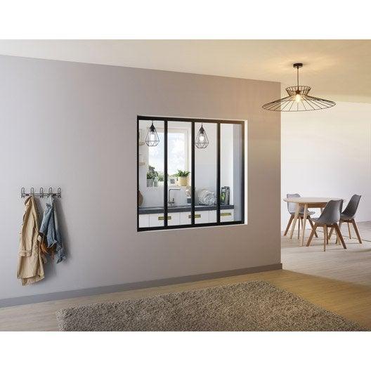 Verri re atelier aluminium noir vitrage non fourni h 1 for Verriere interieure aluminium