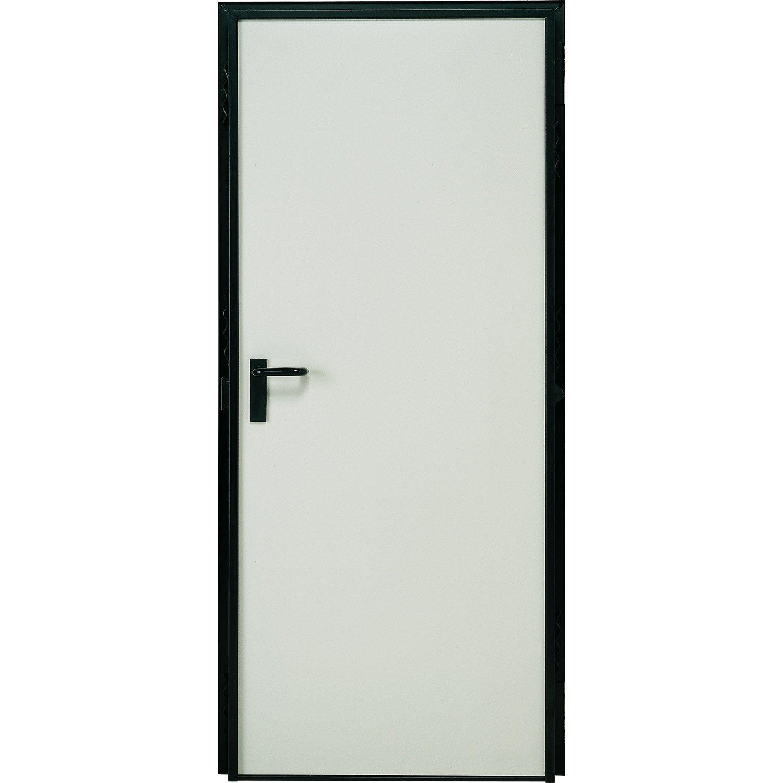 Porte De Service Acier Laquée Blanc Poussant Gauche, H.207 X L.79 Cm