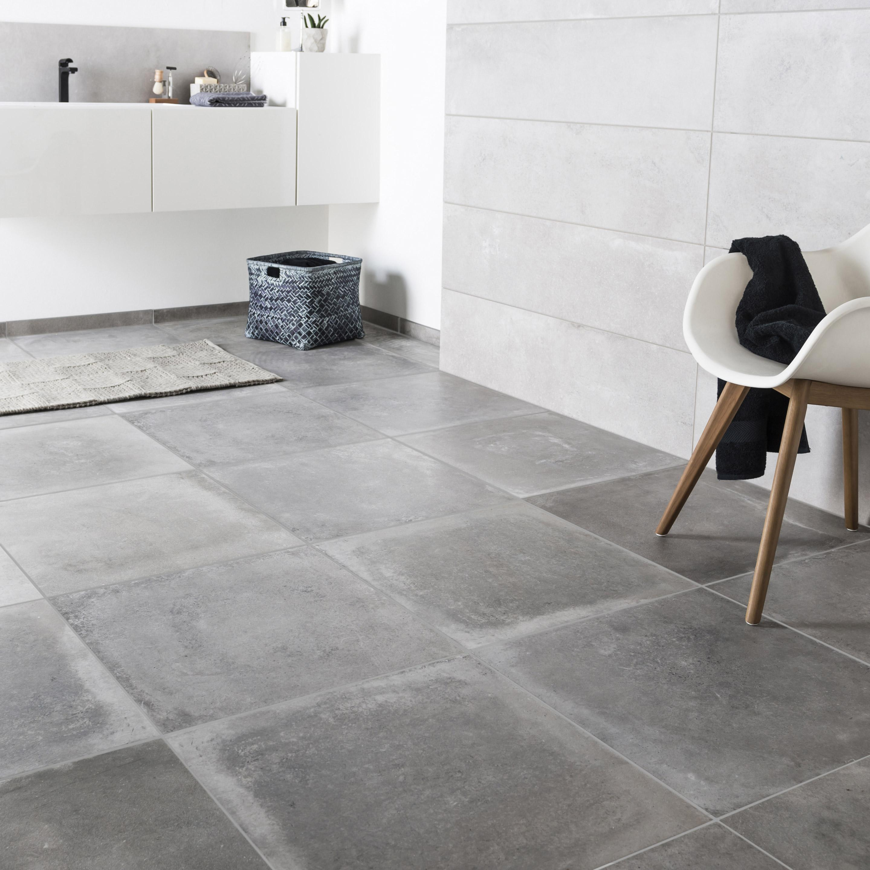 Mur Couleur Gris Beton carrelage sol et mur intenso effet béton gris cendre harlem l.60 x l.60cm  ariana
