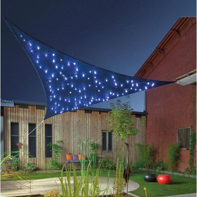 Voile d\'ombrage triangulaire VCE360 bleu nuit/noir L.360 x l.360 cm