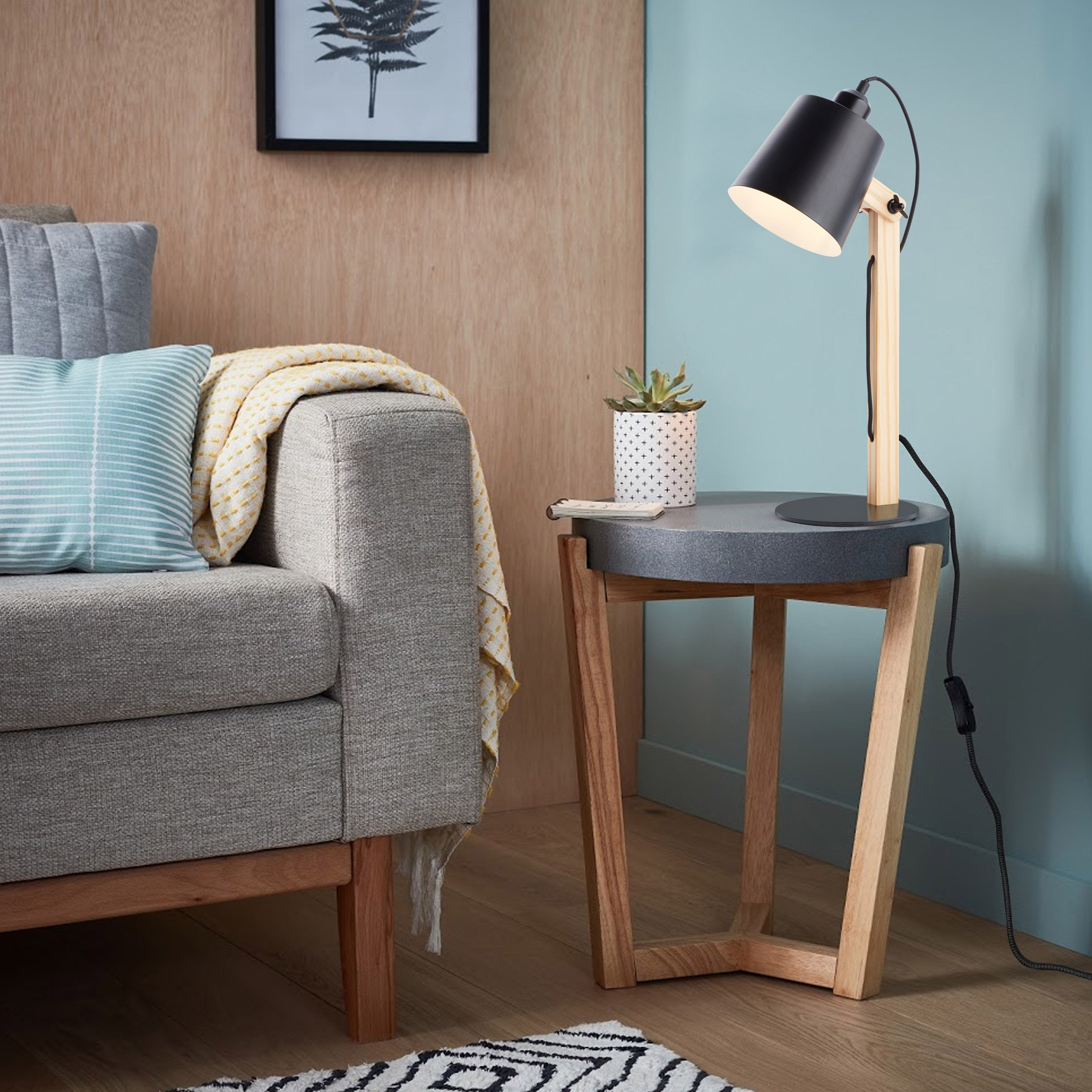 Lampe, industriel, métal noir, BRILLIANT Swivel