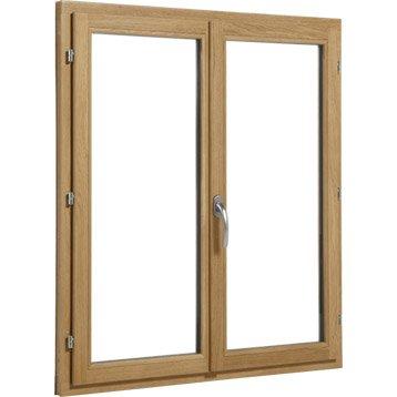 Fenêtre bois Brico essentiel 2 vantaux ouvrant à la française H.115 x l.100 cm