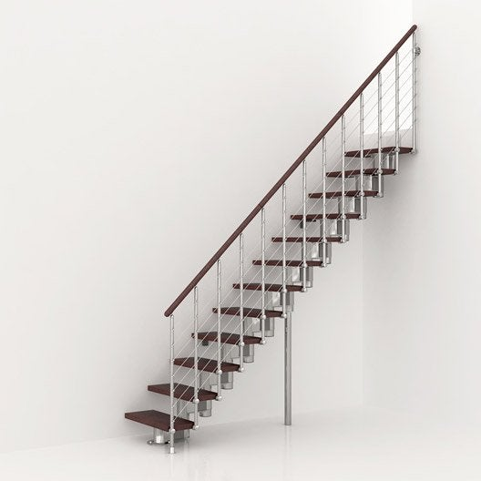 Escalier modulaire longline marches bois structure m tal chrom - Rambarde escalier leroy merlin ...