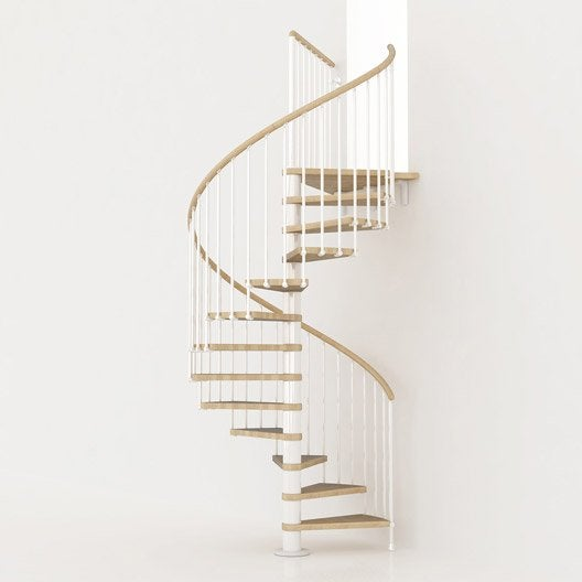 Escalier colimaçon rond Ring, marches bois/ structure métal blanc