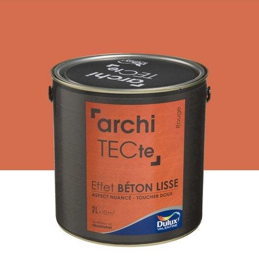 Peinture effet architecte effet b ton dulux valentine rouge 2 l leroy - Peinture aspect beton ...