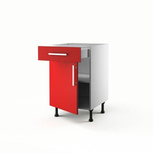 Meuble de cuisine bas rouge 1 porte 1 tiroir d lice for Meuble cuisine 50 x 70
