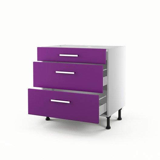 Meuble de cuisine bas violet 3 tiroirs d lice x for Meuble cuisine violet