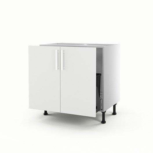 meuble de cuisine sous vier blanc 2 portes d lice x x cm leroy merlin. Black Bedroom Furniture Sets. Home Design Ideas