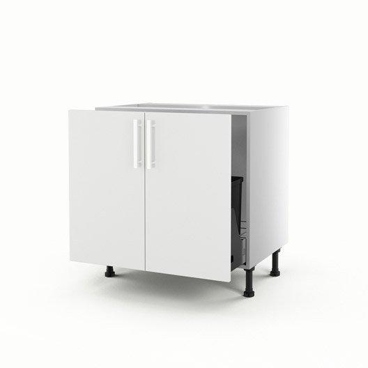 Meuble de cuisine sous vier blanc 2 portes d lice x - Meuble sous evier 70 cm ...