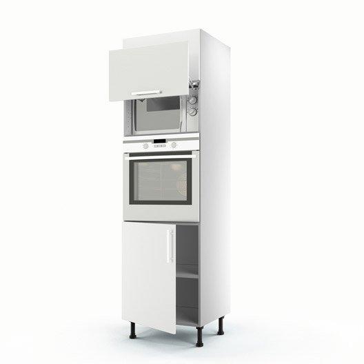 Meuble de cuisine colonne blanc 3 portes d lice x x cm leroy merlin - Colonne de cuisine 60 cm ...