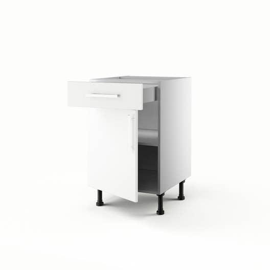 meuble de cuisine bas blanc 1 porte 1 tiroir dlice h70 x l50 x p56 cm