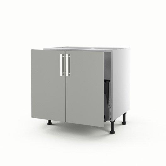 Meuble de cuisine sous vier gris 2 portes d lice x l for Meuble sous evier 80 cm