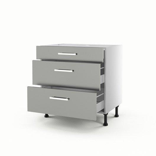 Meuble de cuisine bas gris 3 tiroirs d lice x x Hauteur d un meuble bas de cuisine sans les pieds