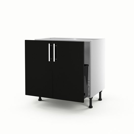 meuble de cuisine sous vier noir 2 portes d lice x x cm leroy merlin. Black Bedroom Furniture Sets. Home Design Ideas
