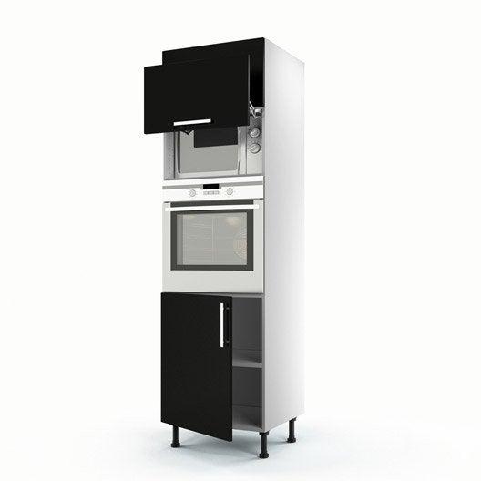 Meuble de cuisine colonne noir 3 portes d lice x l for Meuble colonne cuisine but