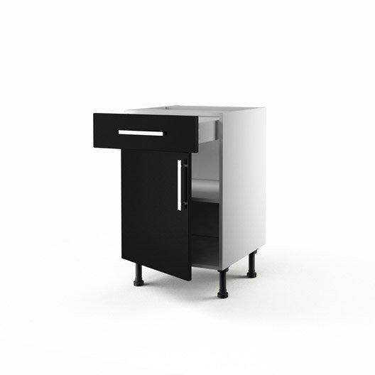 Meuble de cuisine bas noir 1 porte 1 tiroir d lice for Meuble cuisine 50 x 50
