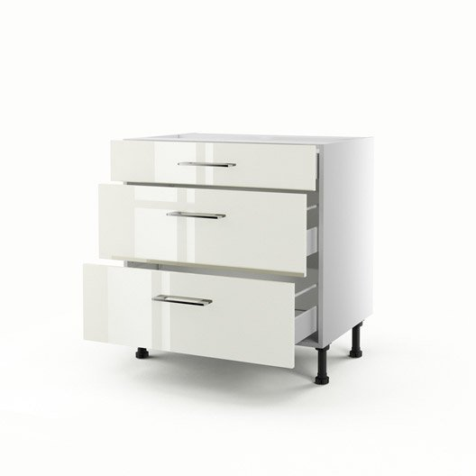 meuble de cuisine bas beige 3 tiroirs perle h70xl80xp56. Black Bedroom Furniture Sets. Home Design Ideas