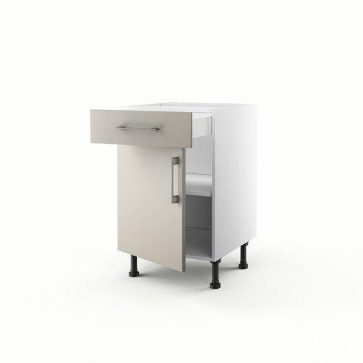Meuble de cuisine bas gris 1 porte 1 tiroir topaze for Meuble bas cuisine 50 cm