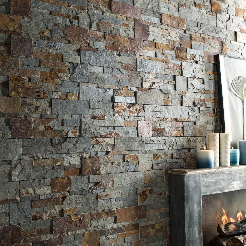 Plaquette de parement pierre naturelle multicolore Elegance | Leroy ...