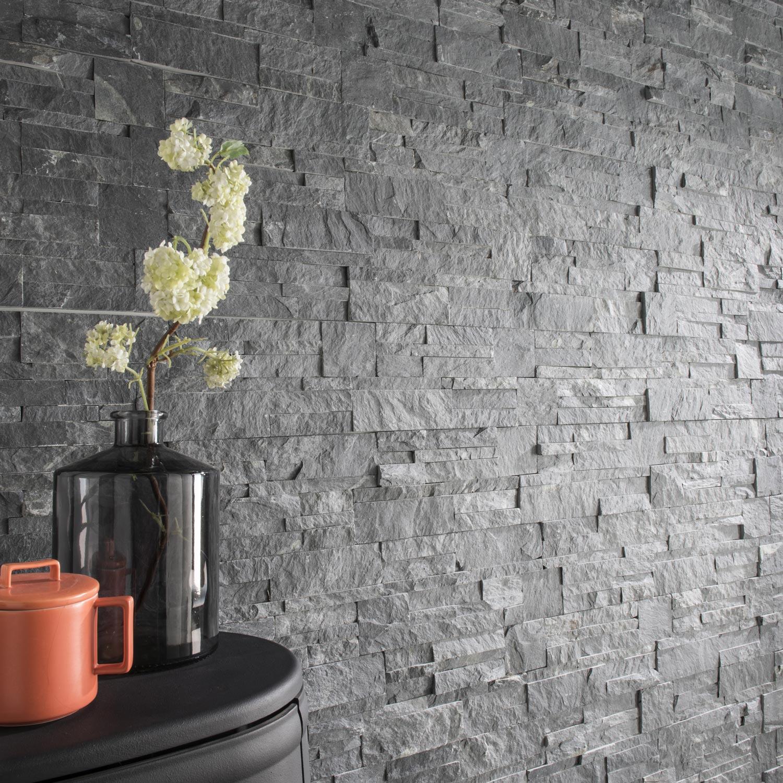 Mur Parement Interieur Ardoise plaquette de parement pierre naturelle gris elegance