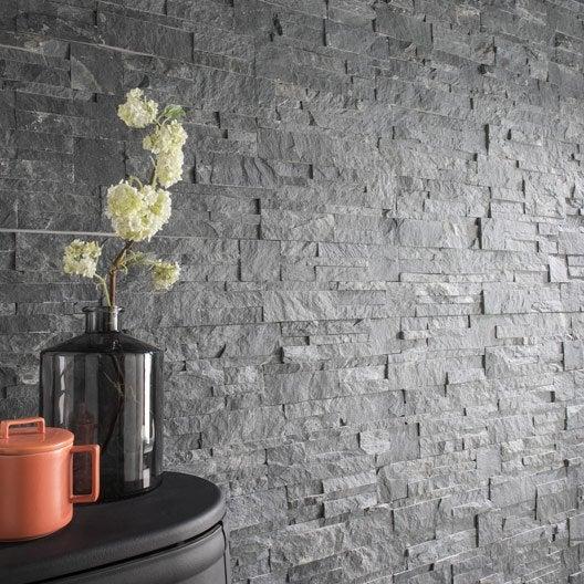Plaquette de parement pierre naturelle gris elegance leroy merlin for Plaquette de parement leroy merlin