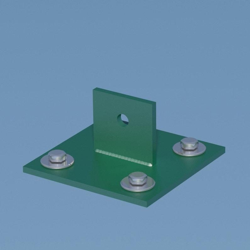 Platine Jambe De Force Acier Galvanisé Plastifié à Visser Vert H43 Cm X Secti