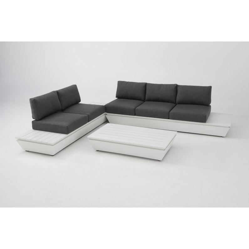 Salon bas de jardin Santorin aluminium blanc / gris, 5 personnes