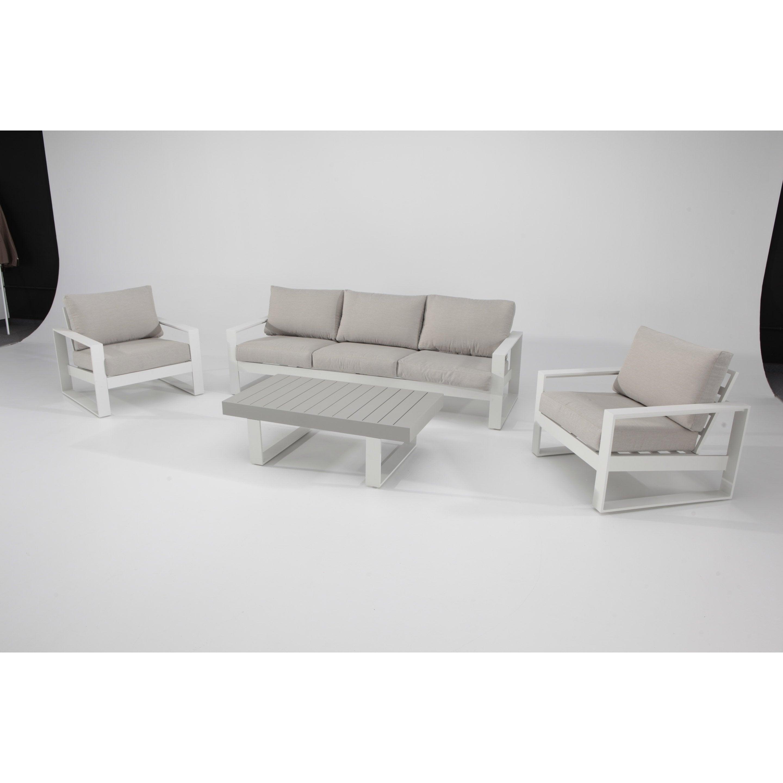 Salon bas de jardin Las vegas aluminium blanc, 5 personnes | Leroy ...