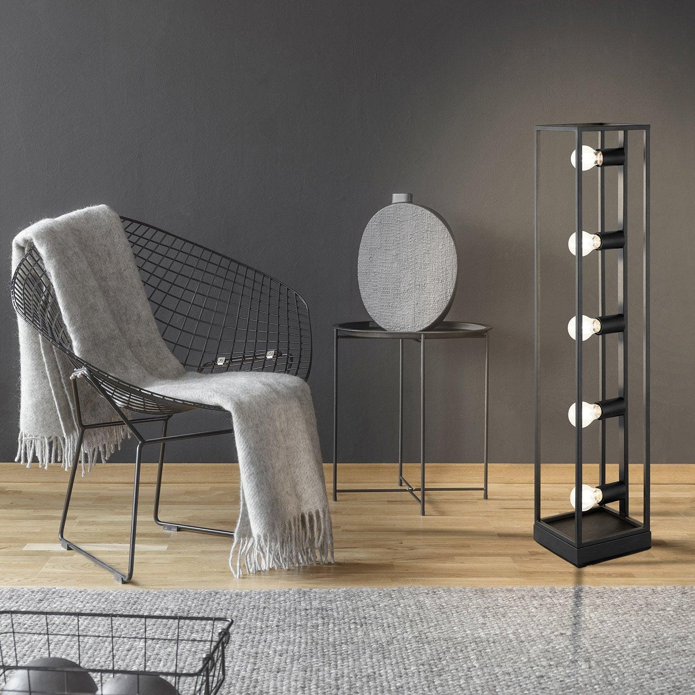 Lampadaire droit, design métal noir, EGLO Eldrick