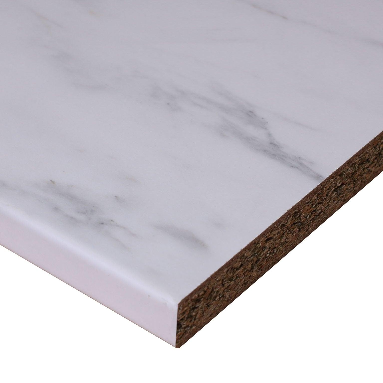 Plan de travail stratifié Effet marbre blanc Mat L.246 x P.63.5 cm, Ep.28 mm