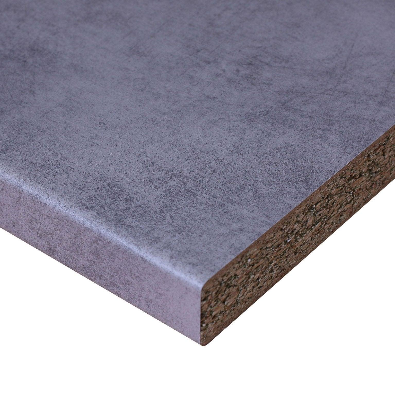 Plan De Travail Laminé plan de travail stratifié béton new mat l.246 x p.63.5 cm, ep.38 mm