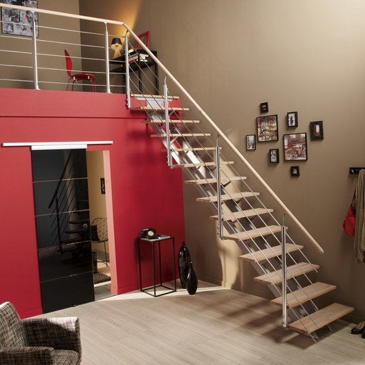Escalier droit escatwin structure aluminium marche bois leroy merlin - Escalier interieur droit ...
