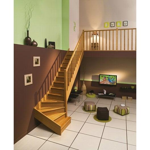 Escalier quart tournant bas droit authentic structure bois marche bois lero - Escalier interieur droit ...