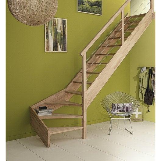 Escalier quart tournant bas droit urban c ble structure bois marche bois le - Escalier quart tournant droit ...