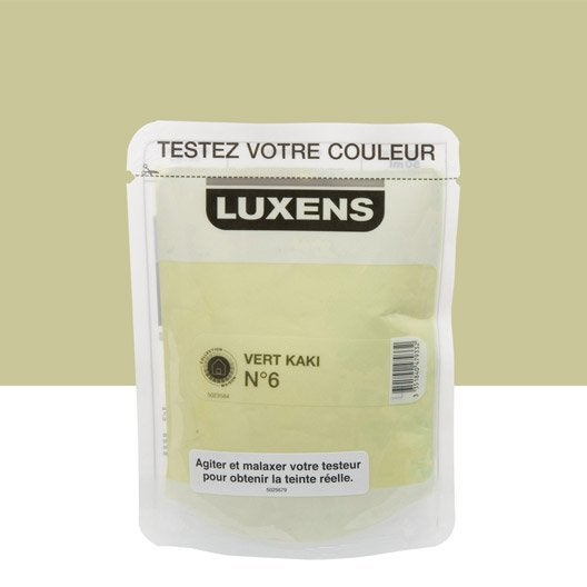 Testeur peinture vert kaki 6 luxens couleurs int rieures satin l leroy merlin for Peinture vert kaki