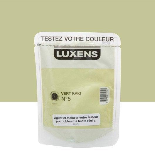 Testeur peinture vert kaki 5 luxens couleurs int rieures satin l leroy merlin for Peinture vert kaki