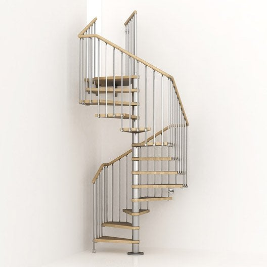 Escalier colima on carr cube structure m tal marche bois leroy merlin - Escalier helicoidal en bois ...