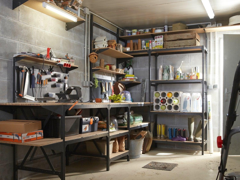 Etag re r sine kis 5 tablettes noir l120xh187xp40 cm - Idee de rangement pour garage ...