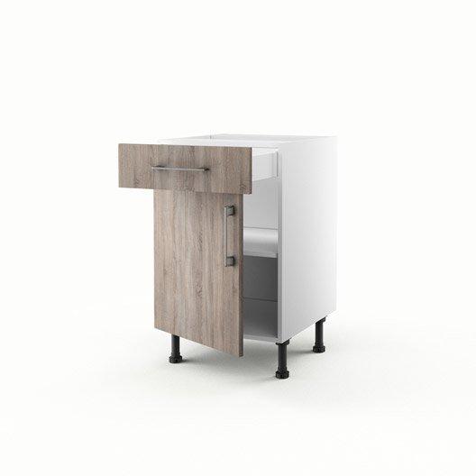 Meuble de cuisine bas d cor ch ne 1 porte 1 tiroir topaze for Meuble cuisine 50 x 70