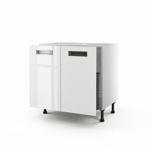 Meuble de cuisine sous vier blanc 2 portes play x l for Evier 70 cm cuisine
