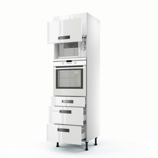 Meuble de cuisine colonne blanc 2 portes 3 tiroirs play for Colonne cuisine tiroir