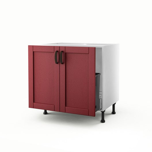 meuble de cuisine sous vier rouge 2 portes rubis x l. Black Bedroom Furniture Sets. Home Design Ideas