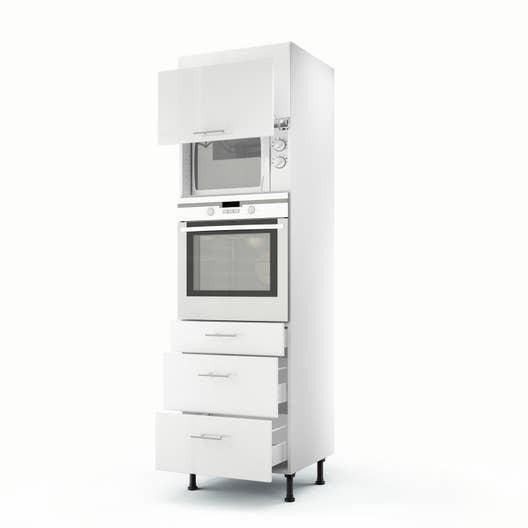 Meuble de cuisine colonne blanc 2 portes 3 tiroirs rio h - Meuble de cuisine 60 cm ...