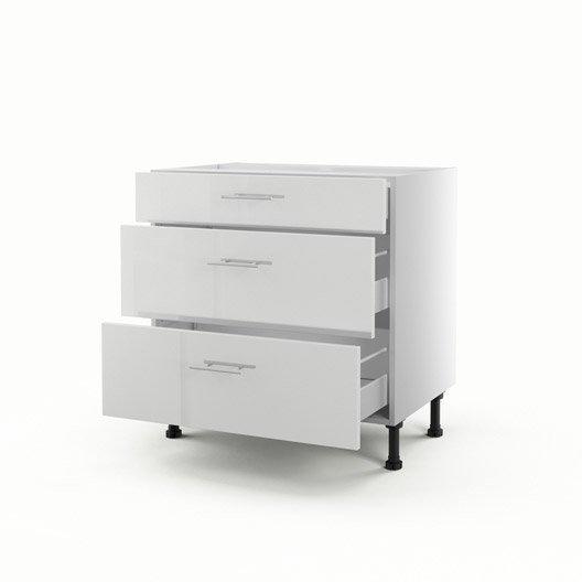 meuble de cuisine bas blanc 3 tiroirs rio h70xl80xp56 cm leroy merlin. Black Bedroom Furniture Sets. Home Design Ideas